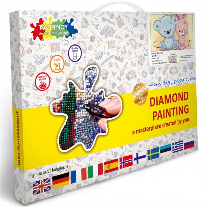 Set Goblen cu diamante, cu sasiu, Micul Urs si Micul Iepurs, 20x30 cm, 16 culori [2]