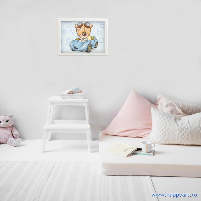 Set Goblen cu diamante, cu sasiu, Ursuletul TEDDY in masina, 20x30 cm, 10 culori [1]