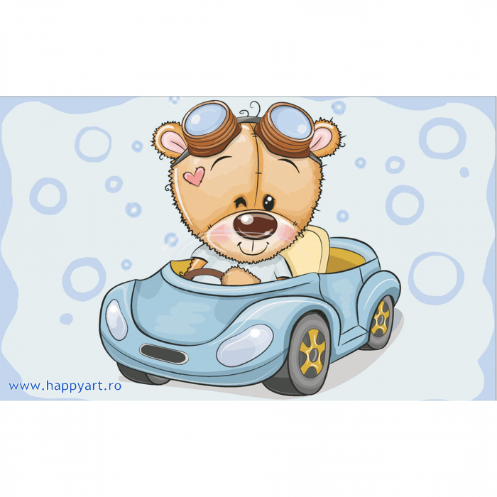 Set Goblen cu diamante, cu sasiu, Ursuletul TEDDY in masina, 20x30 cm, 10 culori [0]