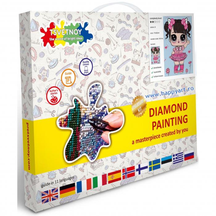Set Goblen cu diamante, cu sasiu, Fetita in Rochie Roz, 17x22 cm, 9 culori [2]