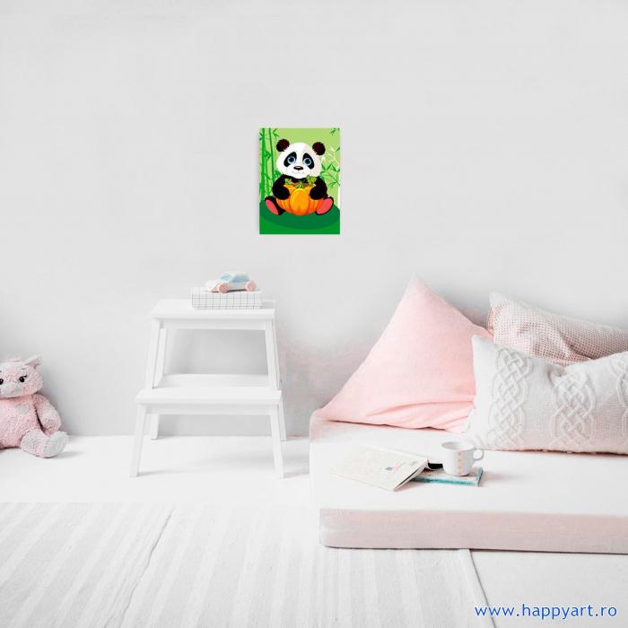 Set Goblen cu diamante, cu sasiu, Panda cu Dovleac, 17x22 cm, 12 culori [1]