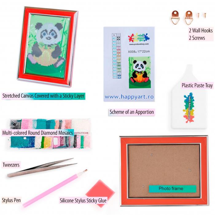 Set Goblen cu diamante, cu sasiu, Panda cu Dovleac, 17x22 cm, 12 culori [3]