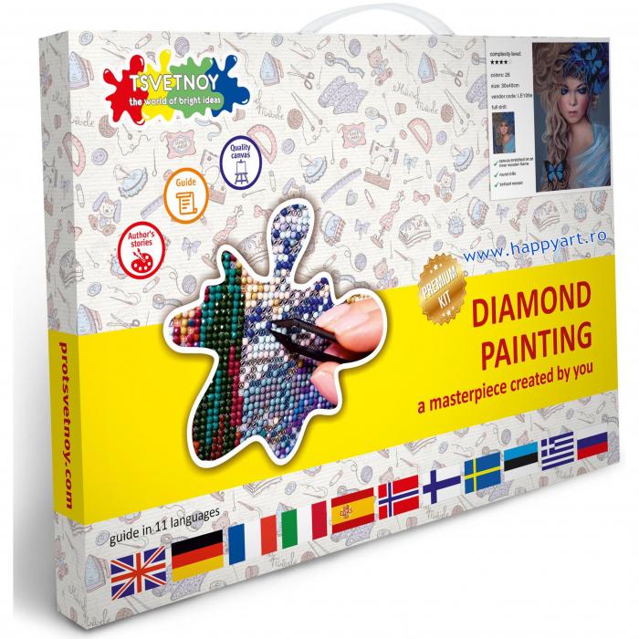 Set Goblen cu diamante, cu sasiu, Fata cu Fluturi, 30x40 cm, 26 culori [2]