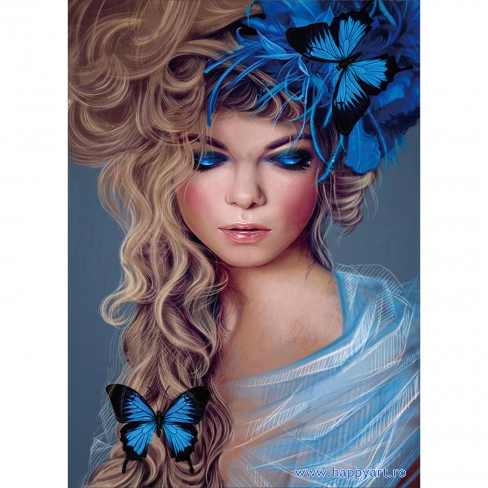 Set Goblen cu diamante, cu sasiu, Fata cu Fluturi, 30x40 cm, 26 culori [0]