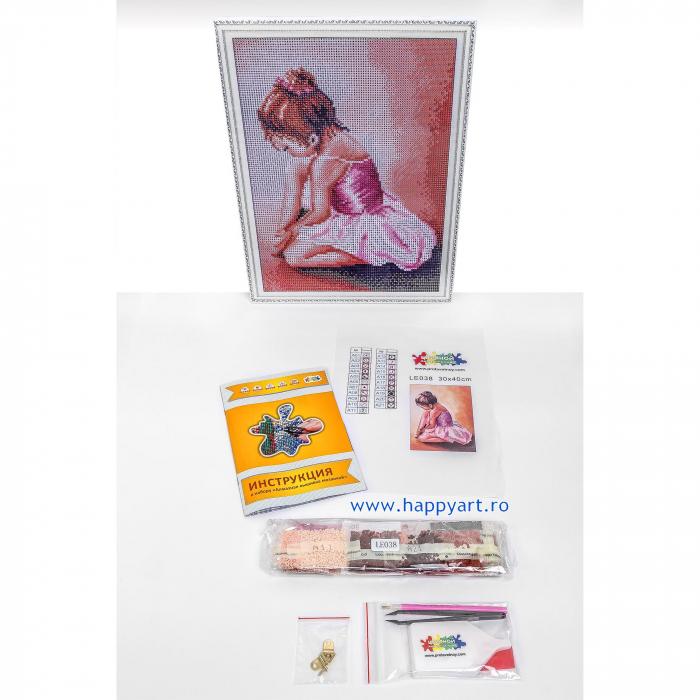 Set Goblen cu diamante, cu sasiu, Balerina Baby, 30x40 cm, 21 culori [6]