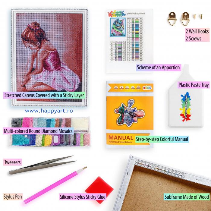 Set Goblen cu diamante, cu sasiu, Balerina Baby, 30x40 cm, 21 culori [4]