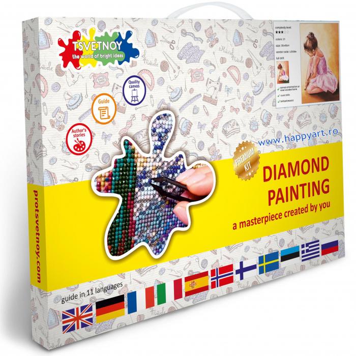 Set Goblen cu diamante, cu sasiu, Balerina Baby, 30x40 cm, 21 culori [3]