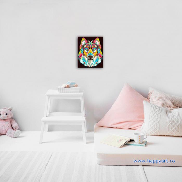 Set Goblen cu diamante, cu sasiu, Lup Colorat, 30x40 cm, 18 culori [1]