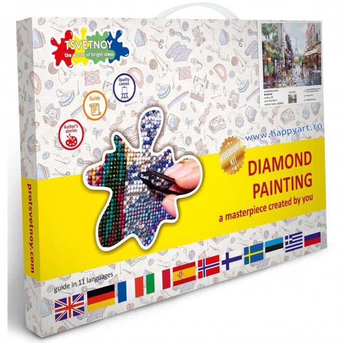 Set Goblen cu diamante, cu sasiu, Parisul Primavara, 40x50 cm, 30 culori [2]