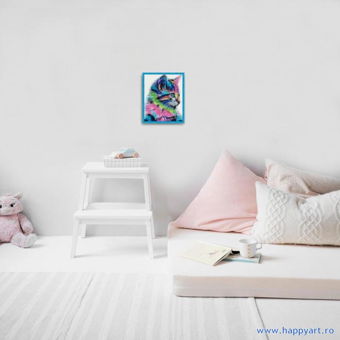 Set Goblen cu diamante, cu sasiu, Pisoi Colorat, 40x50 cm, 30 culori [2]