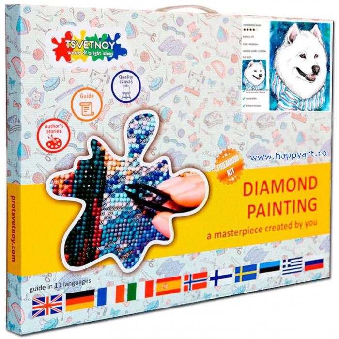 Set Goblen cu diamante, cu sasiu, Prieten de Iarna, 20x30 cm, 19 culori [2]