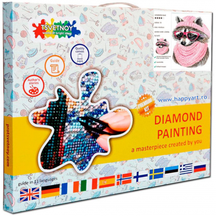 Set Goblen cu diamante, cu sasiu, Raton cu ochelari, 20x30 cm, 19 culori [4]