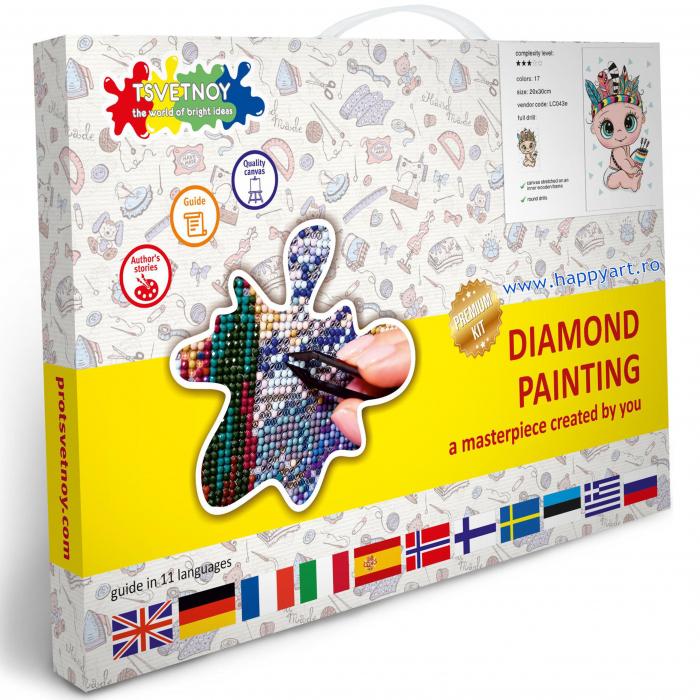 Set Goblen cu diamante, cu sasiu, Bebelus Indian, 20x30 cm, 17 culori [3]