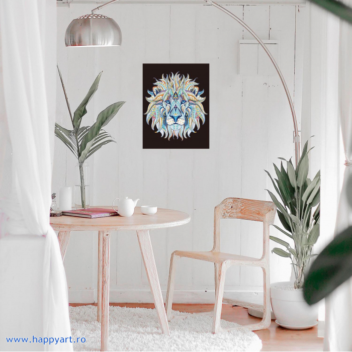 Set Goblen cu diamante, cu sasiu, Leu Etnic, 40x50 cm, 30 culori [1]