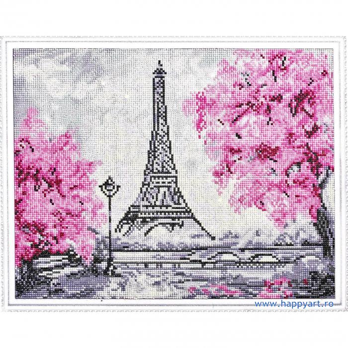 Set Goblen cu diamante, cu sasiu, Turnul Eiffel Inflorit, 40x50 cm, 15 culori [1]