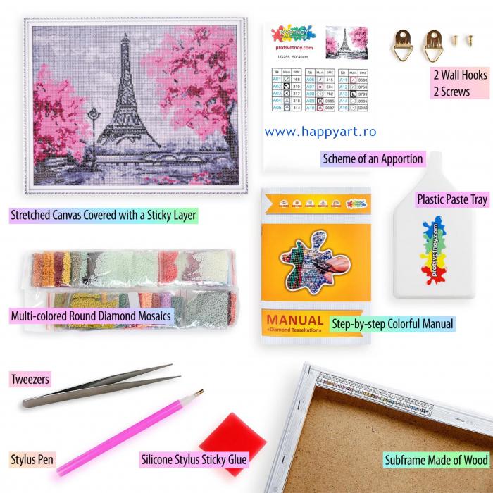 Set Goblen cu diamante, cu sasiu, Turnul Eiffel Inflorit, 40x50 cm, 15 culori [4]