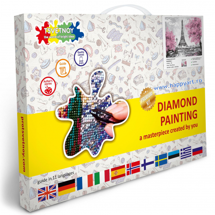 Set Goblen cu diamante, cu sasiu, Turnul Eiffel Inflorit, 40x50 cm, 15 culori [3]