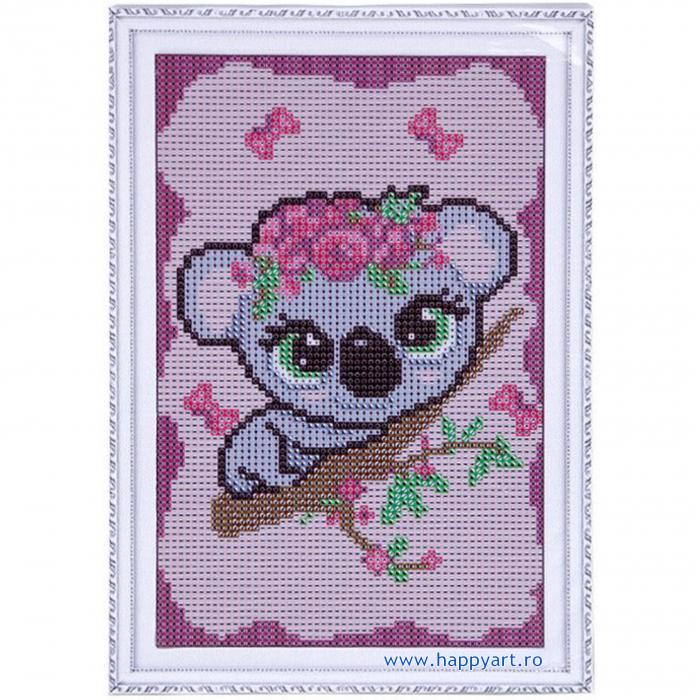 Set Goblen cu diamante, cu sasiu, Micul Koala, 20x30 cm, 12 culori [1]
