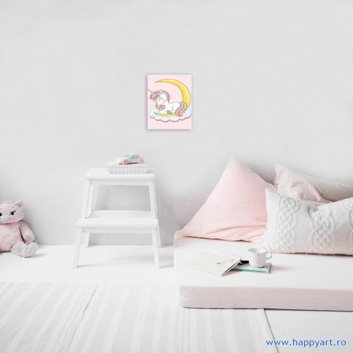 Set Goblen cu diamante, cu sasiu, Dreaming Baby Unicorn, 20x30 cm, 14 culori [1]