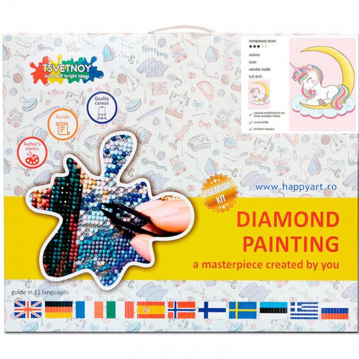 Set Goblen cu diamante, cu sasiu, Dreaming Baby Unicorn, 20x30 cm, 14 culori [2]