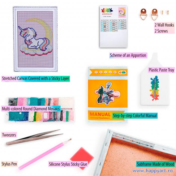 Set Goblen cu diamante, cu sasiu, Dreaming Baby Unicorn, 20x30 cm, 14 culori [3]