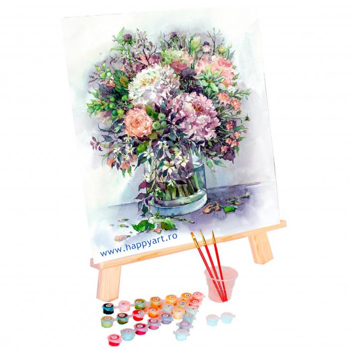Set pictura pe numere, cu sasiu, Buchet cu Bujori si Ierburi in Culori Liliachi, 40x50 cm, 24 culori [1]