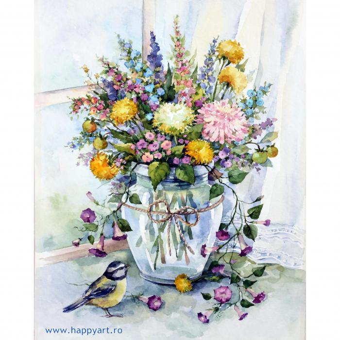 Set pictura pe numere, cu sasiu, Buchet de Flori de Lunca, 40x50 cm, 30 culori [0]