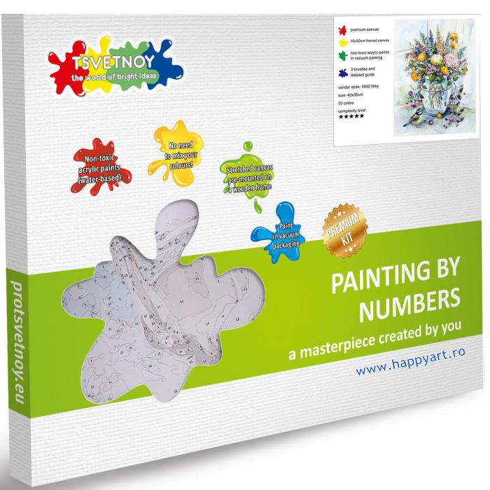 Set pictura pe numere, cu sasiu, Buchet de Flori de Lunca, 40x50 cm, 30 culori [5]