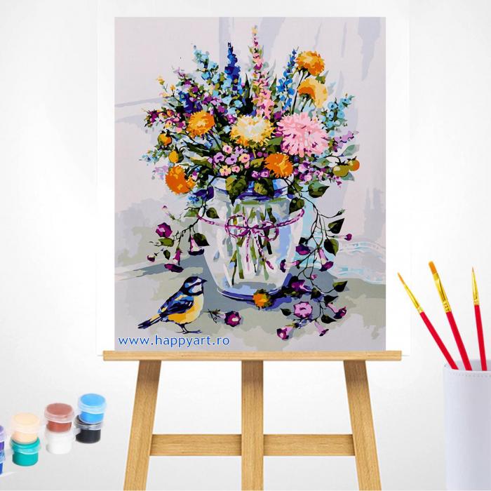 Set pictura pe numere, cu sasiu, Buchet de Flori de Lunca, 40x50 cm, 30 culori [1]