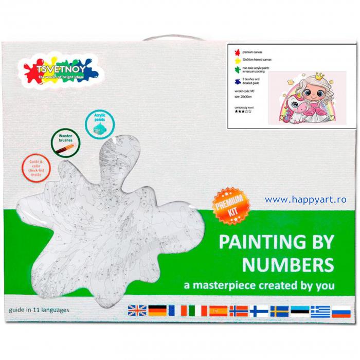 Set pictura pe numere, cu sasiu, Mica Printesa cu Unicornul, 20x30 cm, 19 culori [3]