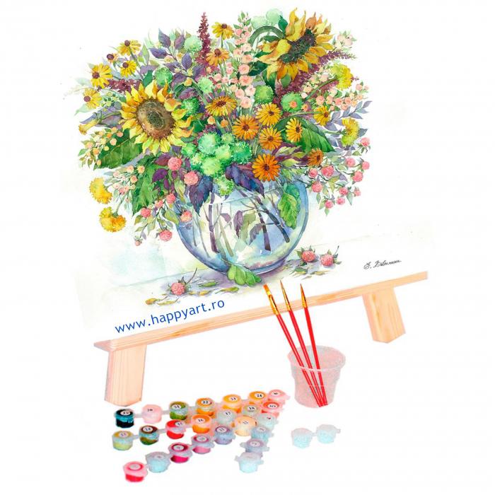 Set pictura pe numere, cu sasiu, Floarea Soarelui in Vaza, 40x50 cm, 24 culori [1]