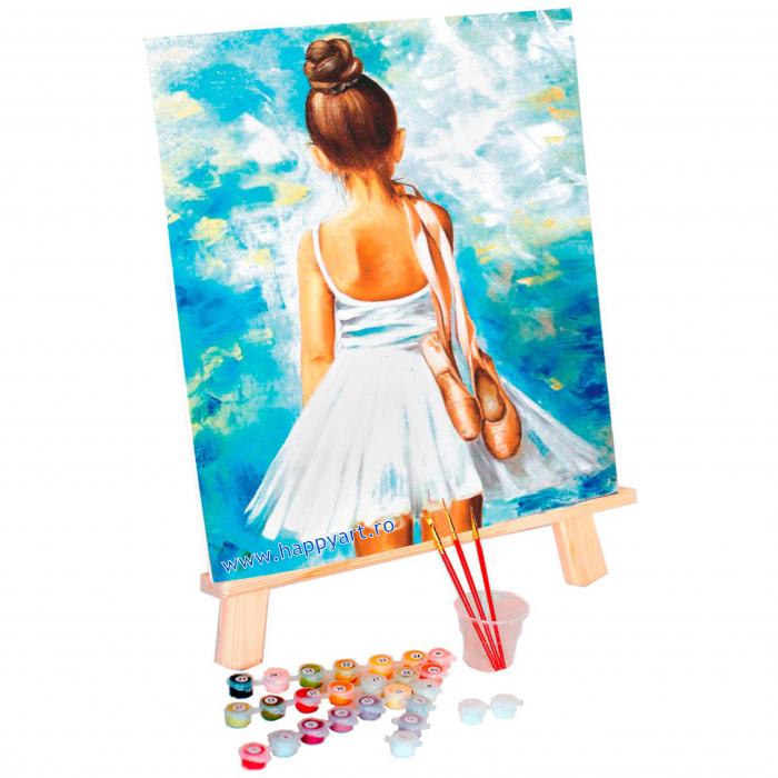 Set pictura pe numere, cu sasiu, Mica Balerina, 40x50 cm, 24 culori [1]