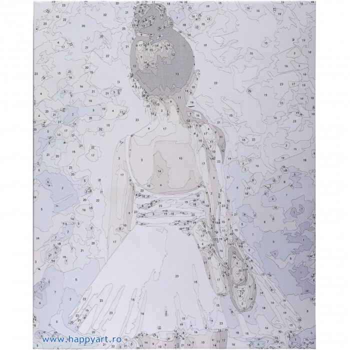 Set pictura pe numere, cu sasiu, Mica Balerina, 40x50 cm, 24 culori [8]