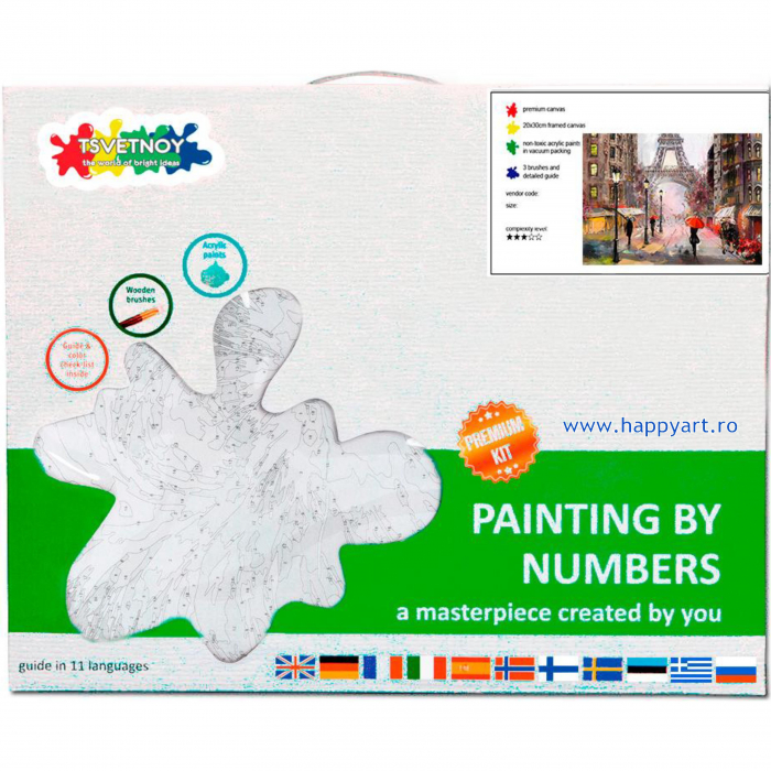 Set pictura pe numere, cu sasiu, Parisul in Ploaie, 40x50 cm, 30 culori [3]