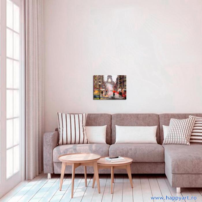 Set pictura pe numere, cu sasiu, Parisul in Ploaie, 40x50 cm, 30 culori [2]