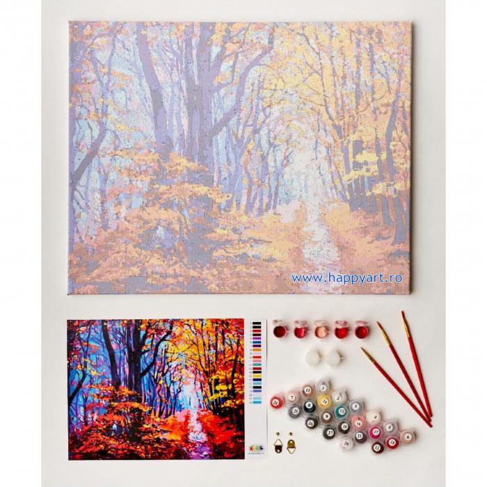 Set pictura pe numere, cu sasiu, Poteca de Padure Toamna, 40x50 cm, 24 culori  Set pictura pe numere, cu sasiu, Poteca de Padure Toamna, 40x50 cm, 24 culori [4]