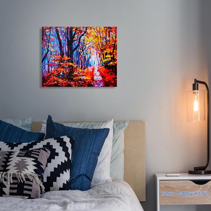 Set pictura pe numere, cu sasiu, Poteca de Padure Toamna, 40x50 cm, 24 culori  Set pictura pe numere, cu sasiu, Poteca de Padure Toamna, 40x50 cm, 24 culori [2]