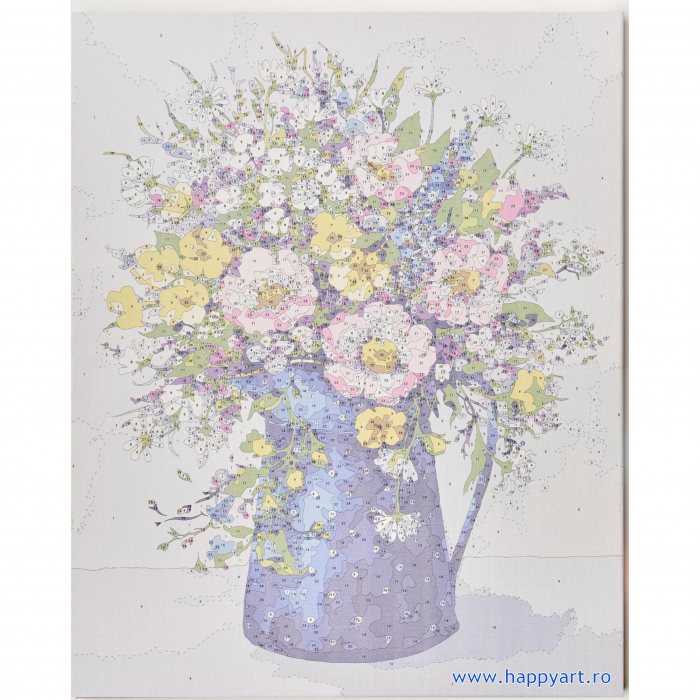 Set pictura pe numere, cu sasiu, Buchet de Flori Salbatice, 40x50 cm, 30 culori [6]