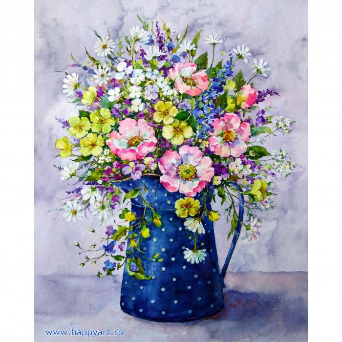 Set pictura pe numere, cu sasiu, Buchet de Flori Salbatice, 40x50 cm, 30 culori [0]