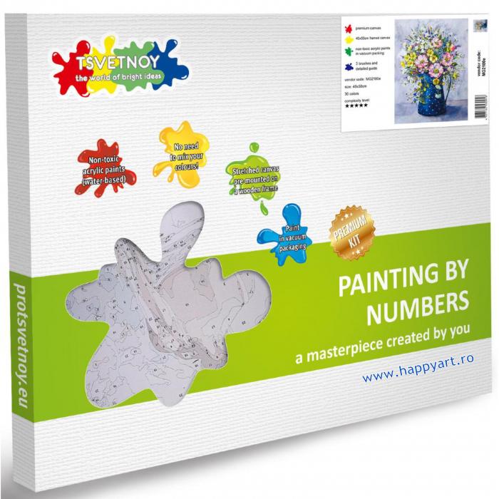 Set pictura pe numere, cu sasiu, Buchet de Flori Salbatice, 40x50 cm, 30 culori [3]