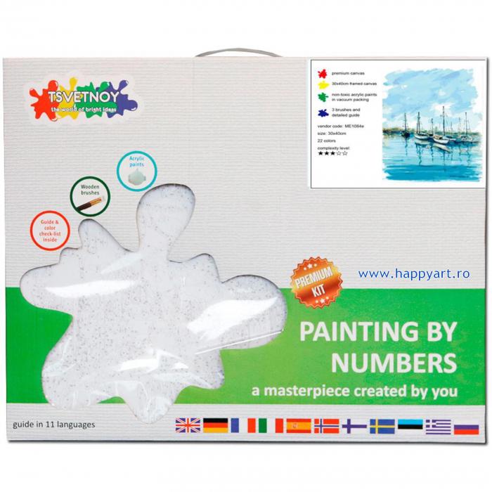 Set pictura pe numere, cu sasiu, Peisaj Marin, 30x40 cm, 22 culori [3]