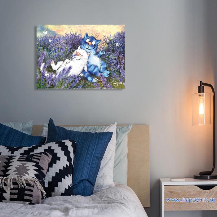 Set pictura pe numere, cu sasiu, Pisici - In Lavanda, 30x40 cm, 27 culori [3]