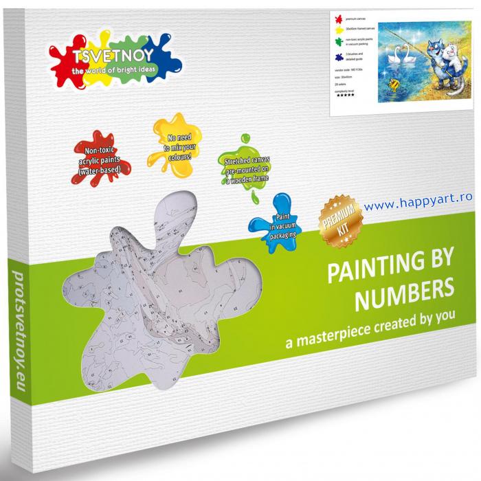 Set pictura pe numere, cu sasiu, Pisici - La Pescuit, 30x40 cm, 29 culori [3]