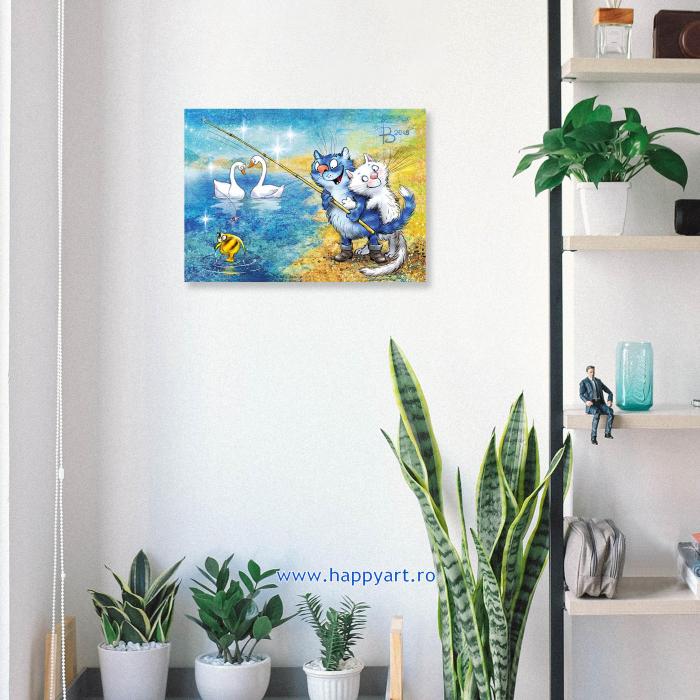 Set pictura pe numere, cu sasiu, Pisici - La Pescuit, 30x40 cm, 29 culori [2]
