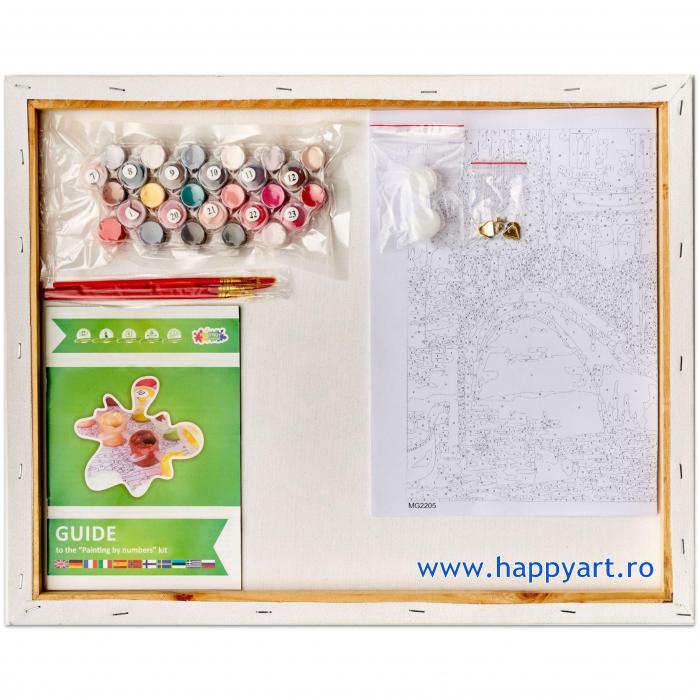 Set pictura pe numere, cu sasiu, Pisici - Impartasind Fericirea, 30x40 cm, 26 culori [6]