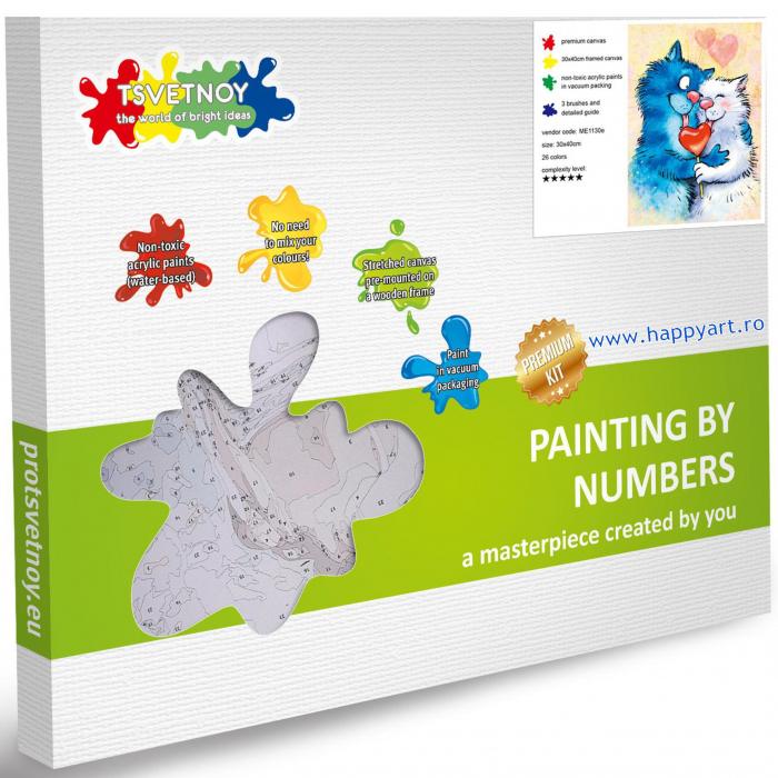 Set pictura pe numere, cu sasiu, Pisici - Impartasind Fericirea, 30x40 cm, 26 culori [4]