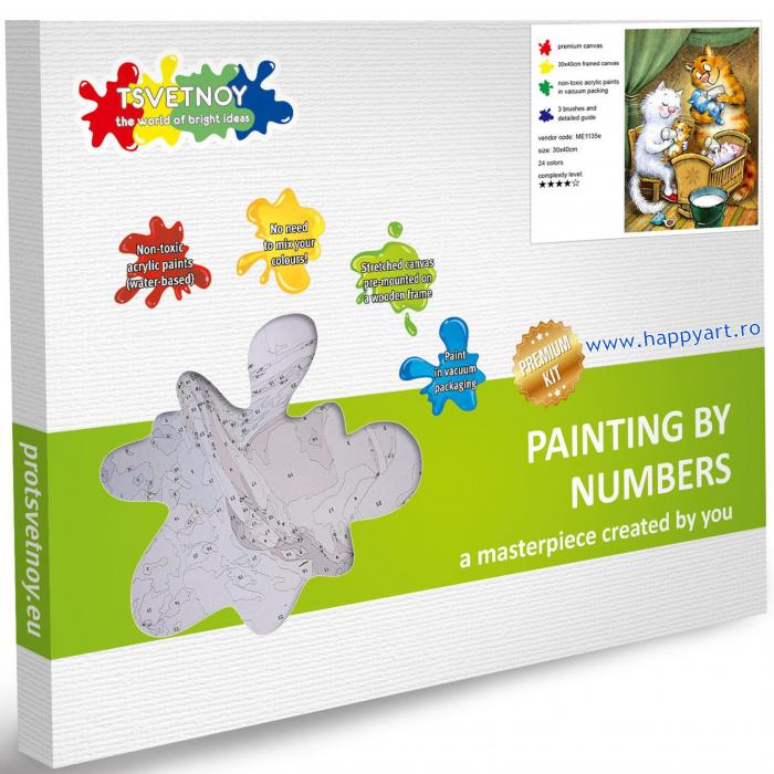 Set pictura pe numere, cu sasiu, Pisici - Familie Fericita, 30x40 cm, 24 culori [2]