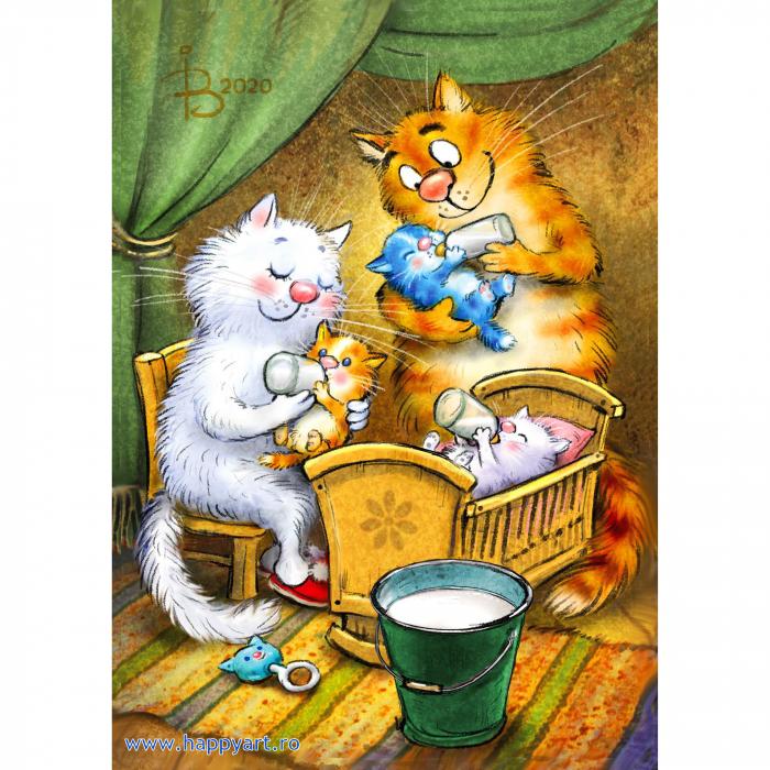Set pictura pe numere, cu sasiu, Pisici - Familie Fericita, 30x40 cm, 24 culori [0]