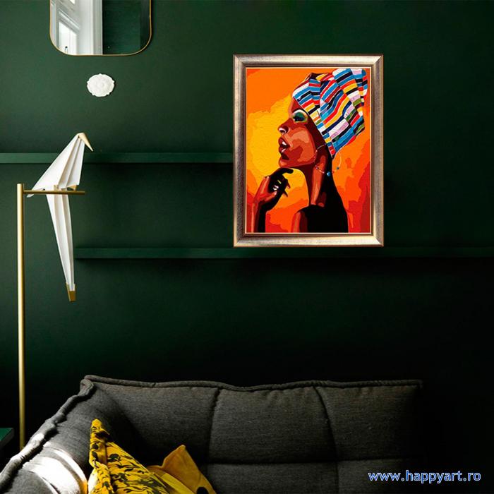 Set pictura pe numere, cu sasiu, Portretul unui African, 40x50 cm, 24 culori [2]