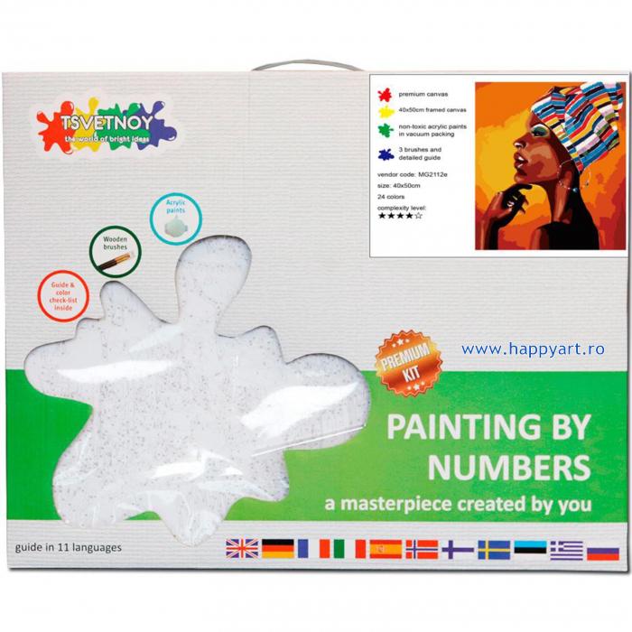 Set pictura pe numere, cu sasiu, Portretul unui African, 40x50 cm, 24 culori [3]